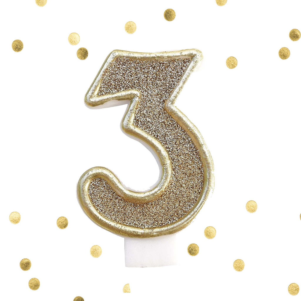 Light Gold Glitter Birthday Candle Number 3 White Anniversary Cake Topper Three Le