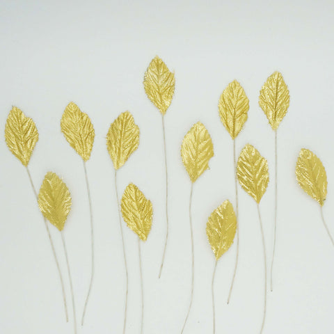 "36 Synthetic 1.5"" Metallic Gold Leaf Rose Leaves"