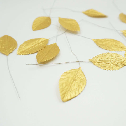"36 Synthetic 2"" Metallic Gold Leaf Rose Leaves"
