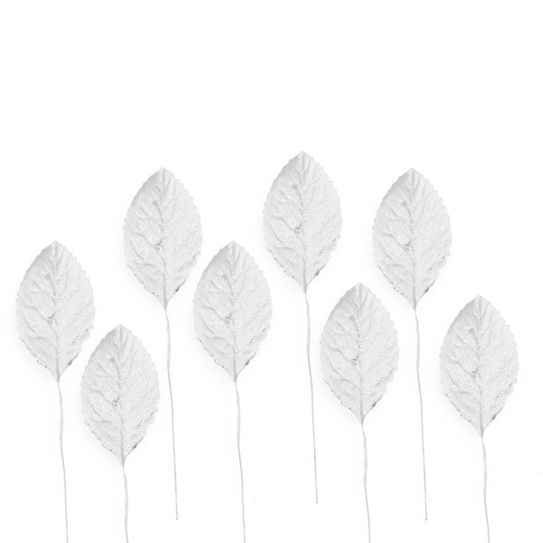 "36 Synthetic 2"" Metallic Silver Leaf Rose Leaves"