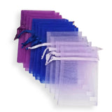 12 Mermaid Gift Favor Bags Purple Blue Drawstring Pouches