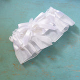 Traditional White Organza Satin Garter with Rose Bow Wedding Bridal Accessories