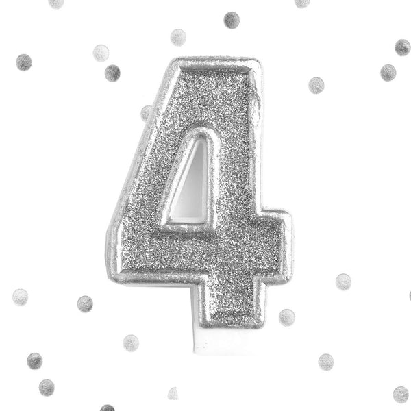 Silver Glitter 4th Birthday Candle Number 4 Silver 4 Number Cake Topper- Le Petit Pain