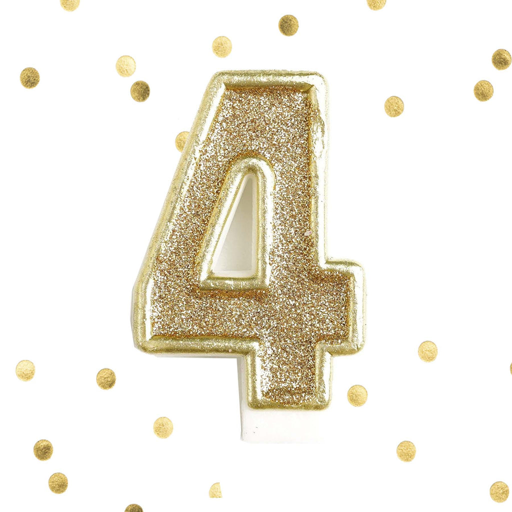 Light Gold Glitter Birthday Candle Number 4 White Anniversary Cake Topper Four Le