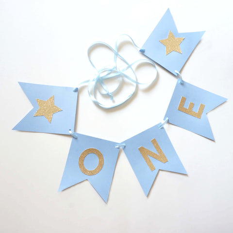 Baby Blue Gold Glitter One High Chair Banner First Birthday Party Decoration