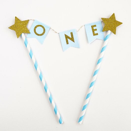 Blue Gold One Year Old Happy First Birthday Cake Topper Flag Banner Glitter Stars