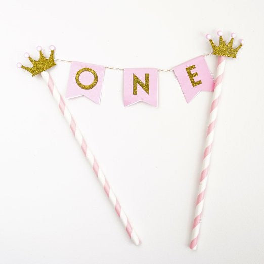 Pink Gold One Year Old Happy First Birthday Cake Topper Flag Banner Gold Glitter Princess Crowns- Le Petit Pain