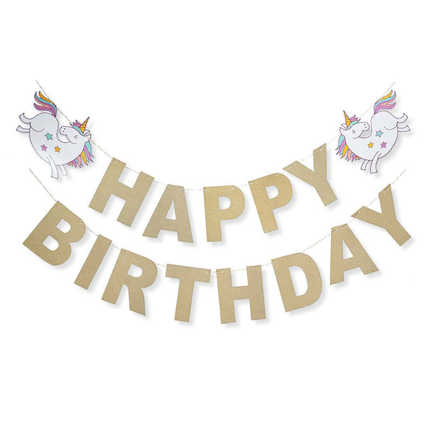Unicorn Rainbow Gold Glitter Happy Birthday Banner Birthday Party Decoration- Le Petit Pain