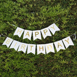 Gold and White Happy Birthday Banner Bunting Garland Party Decoration Gold Foil- Le Petit Pain