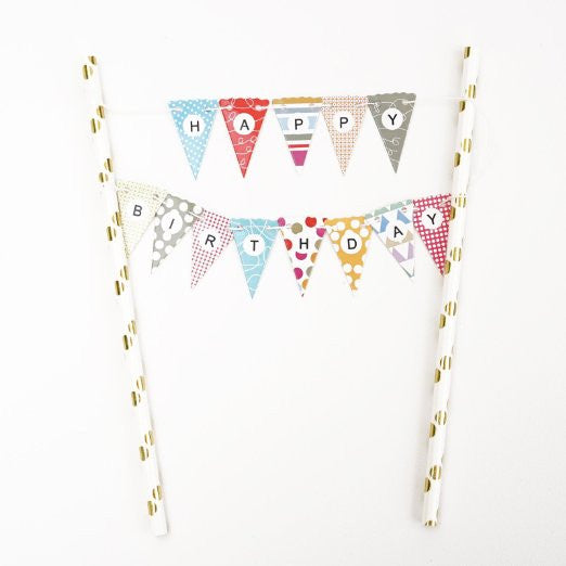 Rainbow Dot Pattern Gold Happy Birthday Cake Topper Gold Foil Mini Flag Garland Paper Straws- Le Petit Pain