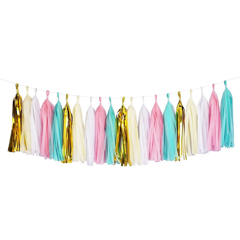 Mint and Pink White and Gold Tassel Garland Banner Party Decoration Wedding- Le Petit Pain
