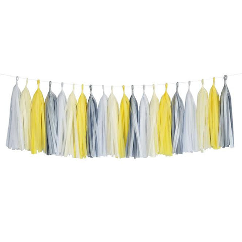 Yellow Gray White Ivory Grey Tassel Garland Banner Party Decoration Wedding- Le Petit Pain