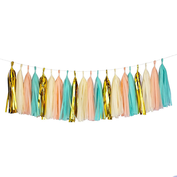 Mint Peach Gold Ivory White Tassel Garland Banner Party Decoration Wedding- Le Petit Pain