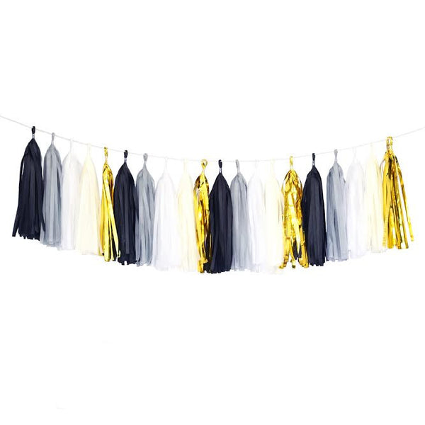 Black Mylar Gold White Gray Ivory Tassel Garland Banner Party Decoration Wedding- Le Petit Pain