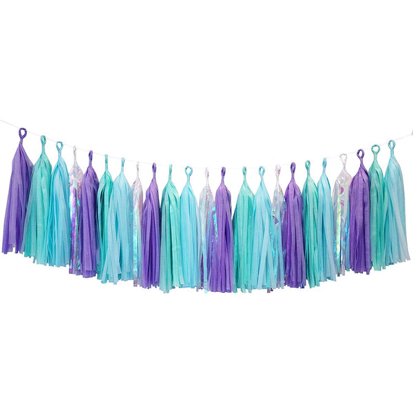 Mermaid Blue Purple Clear Rainbow Cello Tassel Garland Banner Party Decoration Wedding
