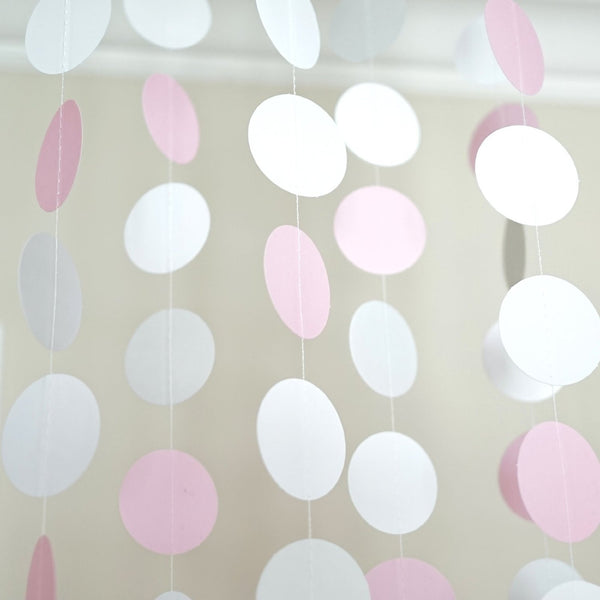 Pink White and Gray Glitter Circle Polka Dots Paper Garland 10 FT Banner Party Decor- Le Petit Pain