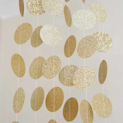 Gold Glitter Circle Polka Dots Paper Garland Banner 10 Ft
