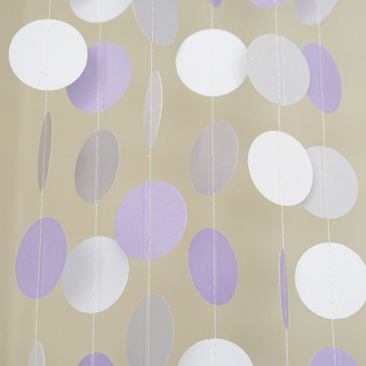 White Lavender Gray Circle Polka Dots Paper Garland 10 FT Banner Party Decor- Le Petit Pain