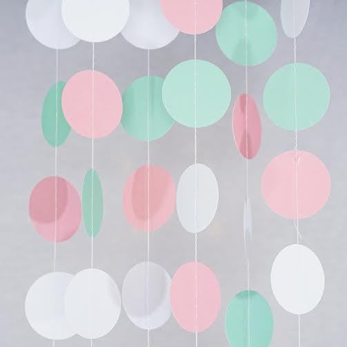 Pink Mint White Pastel Circle Garland Party Decoration Paper Dots Banner- Le Petit Pain