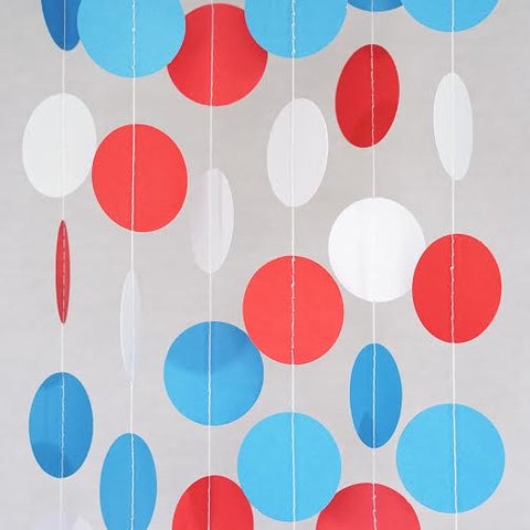 Red White and Blue Circle Garland Party Decoration Paper Dots Banner Patriotic- Le Petit Pain