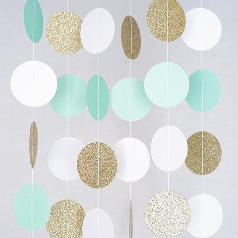 Mint White Gold Glitter Circle Polka Dots Paper Garland Banner 10 FT Banner, Celebration Party Decor- Le Petit Pain