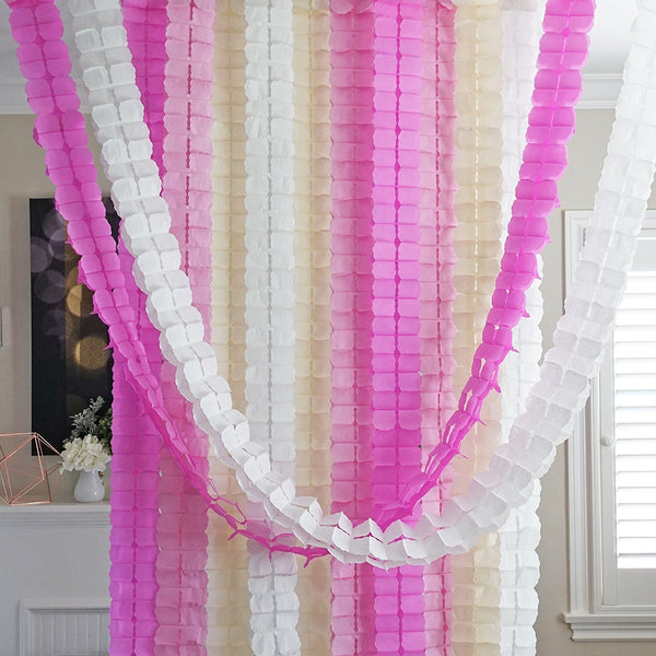 Light Pink Ivory White 3D Four Leaf Tissue Flower Hanging Streamers Party Decor Backdrop
