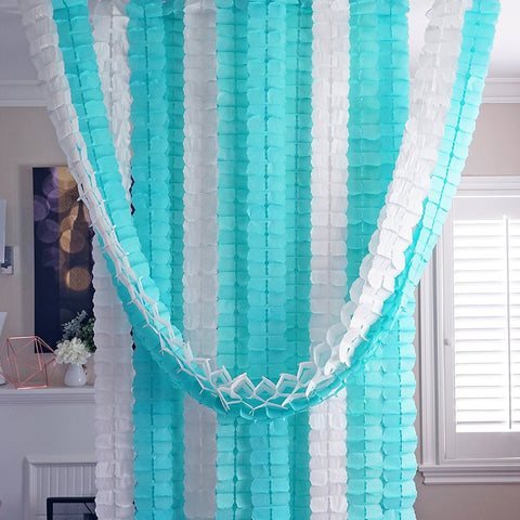 Mint Aqua Blue White 3D Four Leaf Tissue Flower Hanging Streamers Party Decor Backdrop