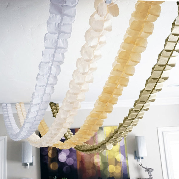 White Tan Peach Gold 3D Four Leaf Tissue Flower Hanging Streamers Party Decor- Le Petit Pain