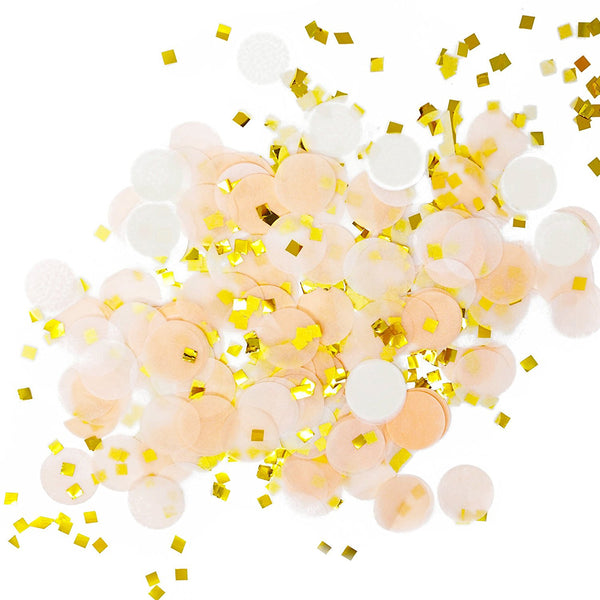 Peach White Gold Metallic Tissue Paper Shredded Circle Confetti Party Decoration- Le Petit Pain