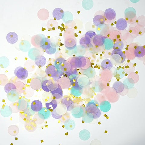 Unicorn Pastel and Gold Confetti Paper Circle Confetti And Gold Shreds Decoration- Le Petit Pain