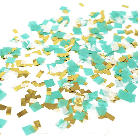 Mint Aqua White Gold Foil Shredded Confetti Paper Glitter Party Decoration- Le Petit Pain