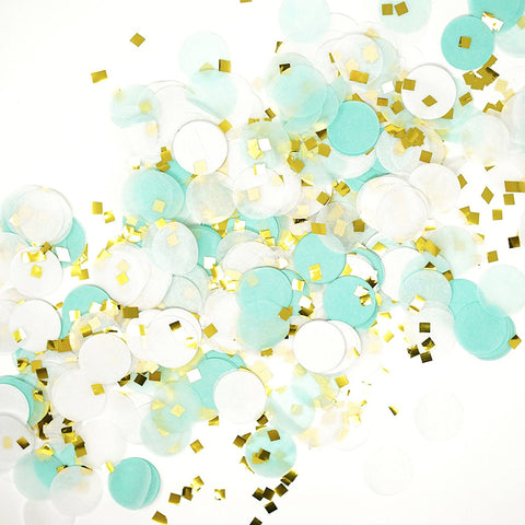 Mint White Gold Metallic Tissue Paper Shredded Circle Confetti Party Decoration- Le Petit Pain