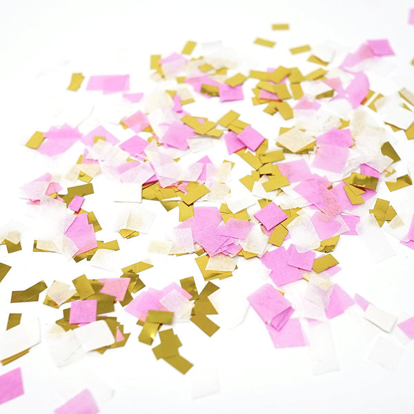 Pink White Metallic Gold Foil Shredded Confetti Paper Party Decoration- Le Petit Pain