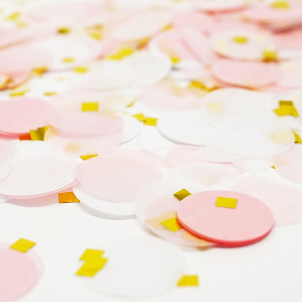 Pink White Gold Metallic Tissue Paper Shredded Circle Confetti Party Decoration- Le Petit Pain