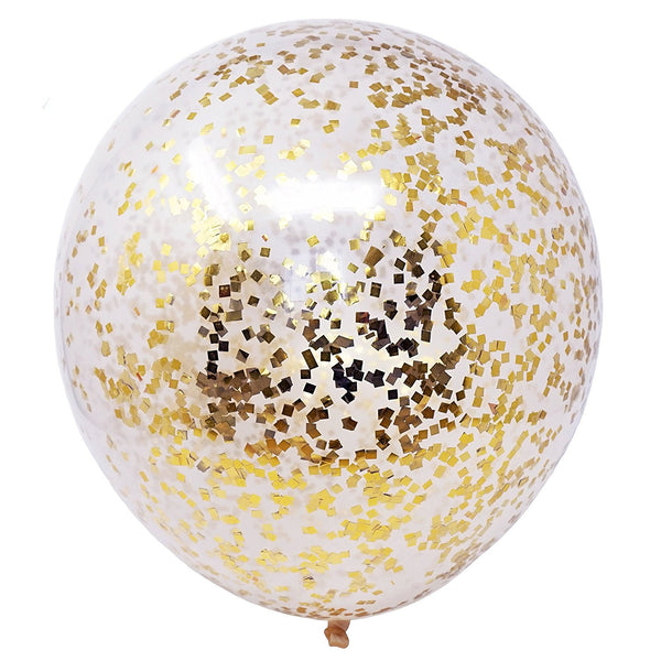 "6 Metallic Gold Flakes Confetti Balloons 18"" DIY Kit 50g Confetti Party Decor - le petit pain"