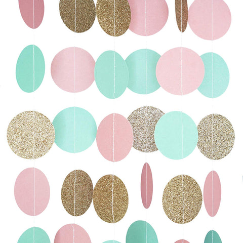 Pink Mint and Gold Glitter Circle Polka Dots Paper Garland Banner 10 FT Banner