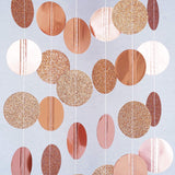 Rose Gold Glitter Circle Polka Dots Paper Garland Banner 10 FT Banner