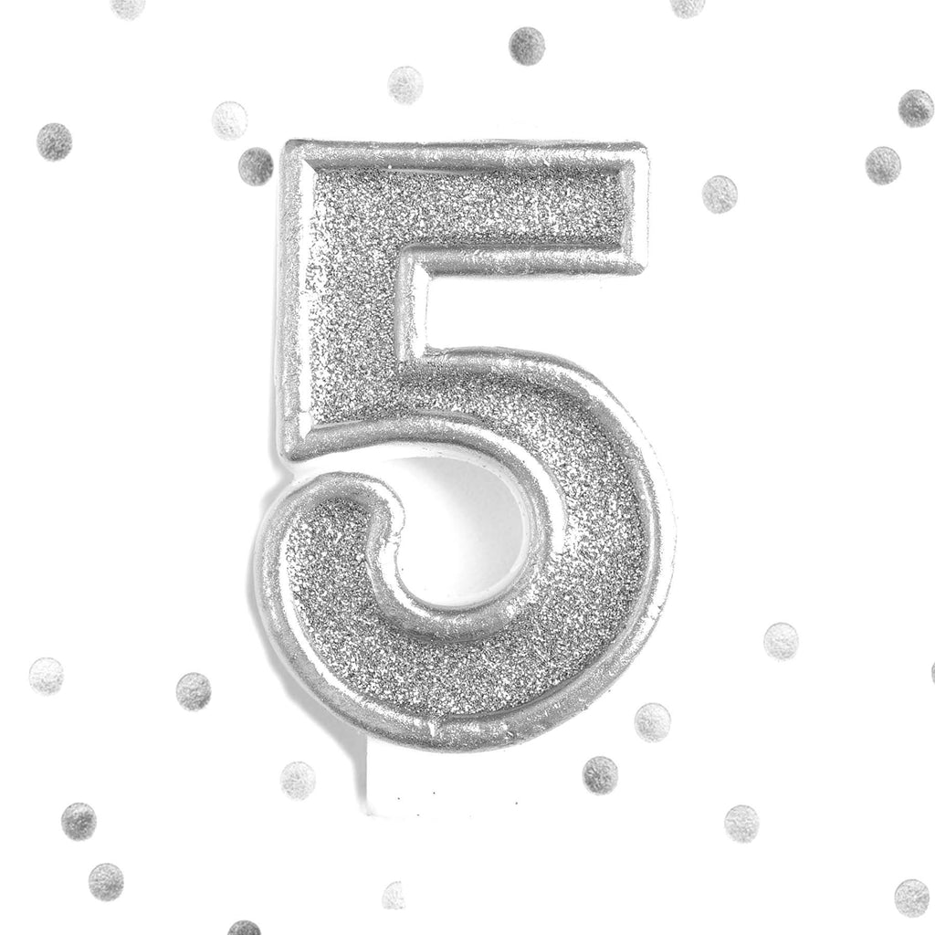 Silver Glitter 5th Birthday Candle Number 5 Five Cake Topper Le Petit Pain