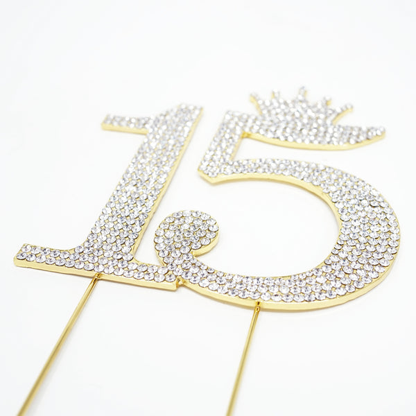 15th Birthday Quinceanera 15 Crown Cake Topper Gold Crystal Rhinestone