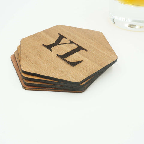 Custom Modern Hexagon Wooden Coasters Name Initials Wedding Personalized Engraved Coasters-Set of 6