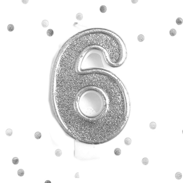 Silver Glitter 6th Birthday Candle Number 6 Silver Six Number Cake Topper- Le Petit Pain