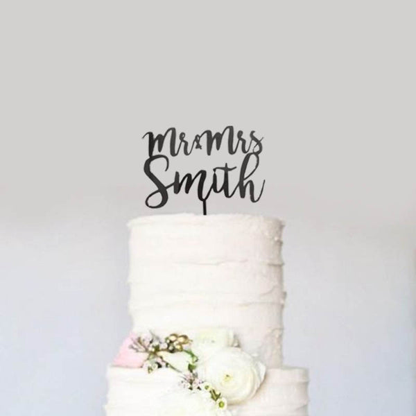 Custom Personalized Name Mr & Mrs Wedding Cake Topper Modern Calligraphy Cursive Cake Topper- Le Petit Pain
