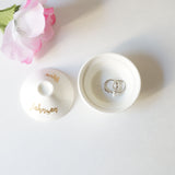 Custom Ceramic White and Gold Foil Mrs Jewelry Dish with Lid Wedding Gift Personalized Name- Le Petit Pain