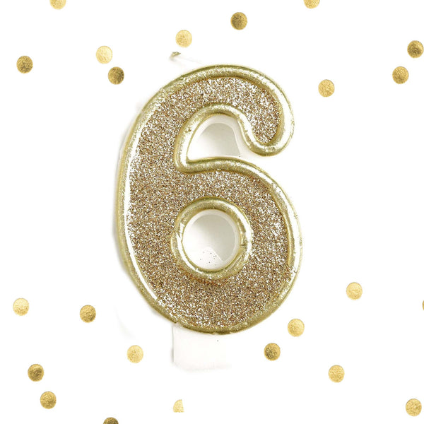 Light Gold Glitter Birthday Candle Number 6 Gold & White Anniversary Cake Topper Six
