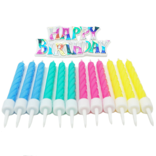 Groovy Rainbow Happy Birthday Cake Topper and 12 Candles