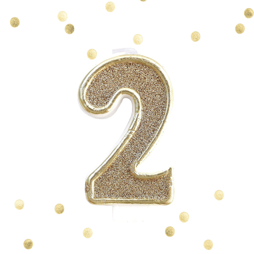 Gold Glitter Birthday Candle Number 2 White Anniversary Cake Topper Two Le Petit
