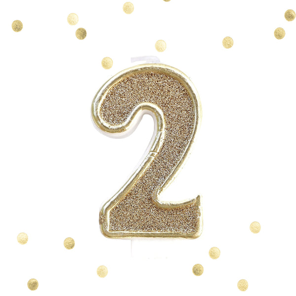 Gold Glitter Birthday Candle Number 2 Gold & White Anniversary Cake Topper Two