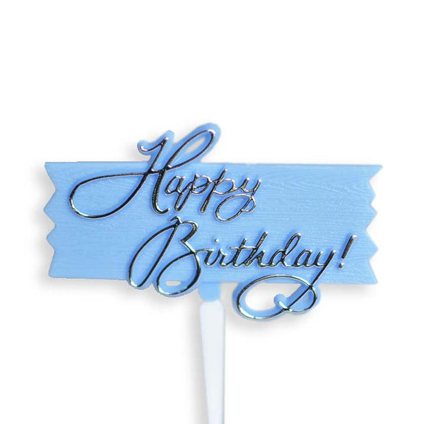 Baby Blue Silver Foil Happy Birthday Woodsy Cupcake Picks Set of 12
