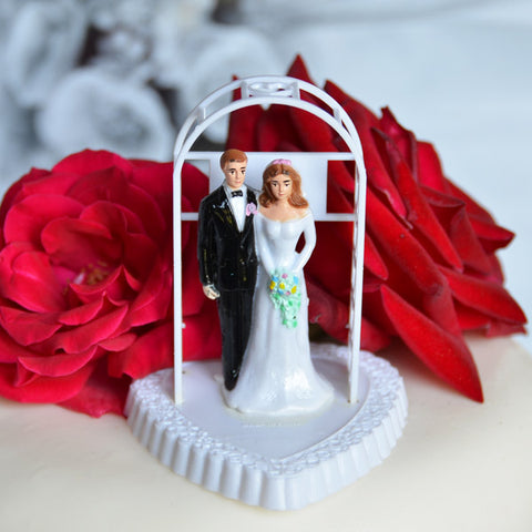 Vintage Bride and Groom Under Arch on Heart Cake Topper
