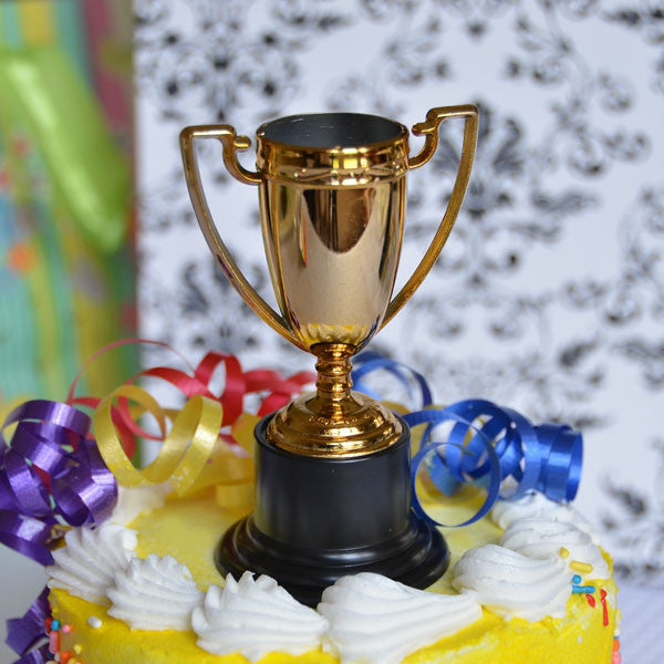 "Gold Trophy Cake Topper 4"" Game Award Winner Trophies Cup Birthday Team Topper- Le Petit Pain"